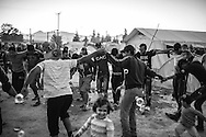 16 April 2016, Greece, Idomeni. A group of refugees dancing in the refugee camp of Idomeni.
