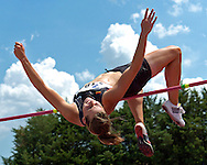 Germany's Maren Schwerdtner finished the high jump with jump of 1.73 meters in the heptathlon, at the Nike Combined Events Challenge at the R.V. Christian Track Complex on the campus of Kansas State University in Manhattan, Kansas, August 5, 2006.