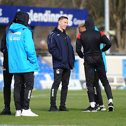 TELFORD COPYRIGHT MIKE SHERIDAN Zak Lilly of Telford  during the Vanarama Conference North fixture between Guiseley and AFC Telford United at Nethermoor Park on Saturday, February 8, 2020.<br /> <br /> Picture credit: Mike Sheridan/Ultrapress<br /> <br /> MS201920-046