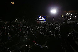 ST. LOUIS, Oct. 10, 2016 (Xinhua) -- People watch live broadcast of the 2016 presidential debate at Washington University in St. Louis, Missouri, the United States, Oct. 9, 2016. The second of three U.S. presidential debates between the Democratic and Republican nominees Hillary Clinton and Donald Trump was held in Washington University on Sunday. (Xinhua/Wang Ying) (wtc) (Credit Image: © Zheng Huansong/Xinhua via ZUMA Wire)