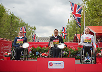 Manuela Schar SUI, Amanda McGrory USA and Susannah  Scaroni USA with their respective salvers in the Elite Wheelchair Presentation. The Virgin Money London Marathon, 23rd April 2017.<br /> <br /> Photo: Ben Queenborough for Virgin Money London Marathon<br /> <br /> For further information: media@londonmarathonevents.co.uk