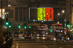 Trafalgar Square, London, March 23rd 2016. In a show of solidarity with Belgioum following the terrorist attacks of March 22nd theBelgian flag is projected onto the National Gallery. ©Paul Davey<br /> FOR LICENCING CONTACT: Paul Davey +44 (0) 7966 016 296 paul@pauldaveycreative.co.uk