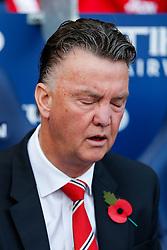 Manchester United Manager Louis van Gaal looks dejected  - Photo mandatory by-line: Rogan Thomson/JMP - 07966 386802 - 02/11/2014 - SPORT - FOOTBALL - Manchester, England - Etihad Stadium - Manchester City v Manchester United - Barclays Premier League.
