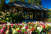 Flowers and gazebo at Cascade Gardens, Banff National Park, Alberta, Canada