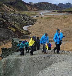 05-07-2014 NED: Iceland Diabetes Challenge dag 1, Landmannalaugar <br /> Vandaag ging de challenge van start. Met een bus gingen we van Vogar naar Landmannalaugar en zagen we de eerste tekenen van het prachtige landschap van IJsland / Sandra, Eddy, Anne-Marie, Debbie, Ellen, Sabine