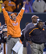 Cleveland defensive coordinator Todd Grantham, left, raises his arms after watching the Browns stop Seattle on a fourth-and-one play in overtime Nov. 4, 2007.