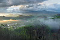 The town of Gatlinburg is nestled within the larger Great Smoky Mountains of Tennessee.  Just a few months before this photo, a large fire burned much of the mountainside.  The black char and some scarring can be seen in this photo.  I thought that the early morning fog--and the way in which the sun was lighting it--was reminiscent of a smoldering fire within the valley.