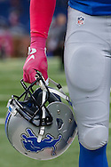 Detroit Lions wide receiver Golden Tate (15) wears pink gloves during warm ups prior to an NFL football game against the Arizona Cardinals at Ford Field in Detroit, Sunday, Oct. 11, 2015. (AP Photo/Rick Osentoski)