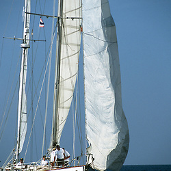 """The sailing yacht """"S/Y Stormvogel"""" cruising during the 2004 Andaman Sea Rally that sailed from Phuket, Thailand to the Andaman Islands, India. The yacht Stormvogel was featured in the hollywood movie """"Dead Calm,"""" starring Nicole Kidman and Billy Zane."""