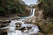 this motion picture of a waterfall gives the water a soft almost painted appearance, tawhai falls, tongariro national park, new zealand