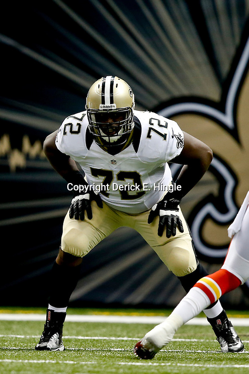 Aug 9, 2013; New Orleans, LA, USA; New Orleans Saints offensive tackle Terron Armstead (72) against the Kansas City Chiefs during the second quarter of a preseason game at the Mercedes-Benz Superdome. Mandatory Credit: Derick E. Hingle-USA TODAY Sports