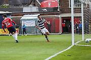 Forest Green Rovers Omar Bugiel(11) scores a goal 1-2 and celebrates during the Vanarama National League match between York City and Forest Green Rovers at Bootham Crescent, York, England on 29 April 2017. Photo by Shane Healey.