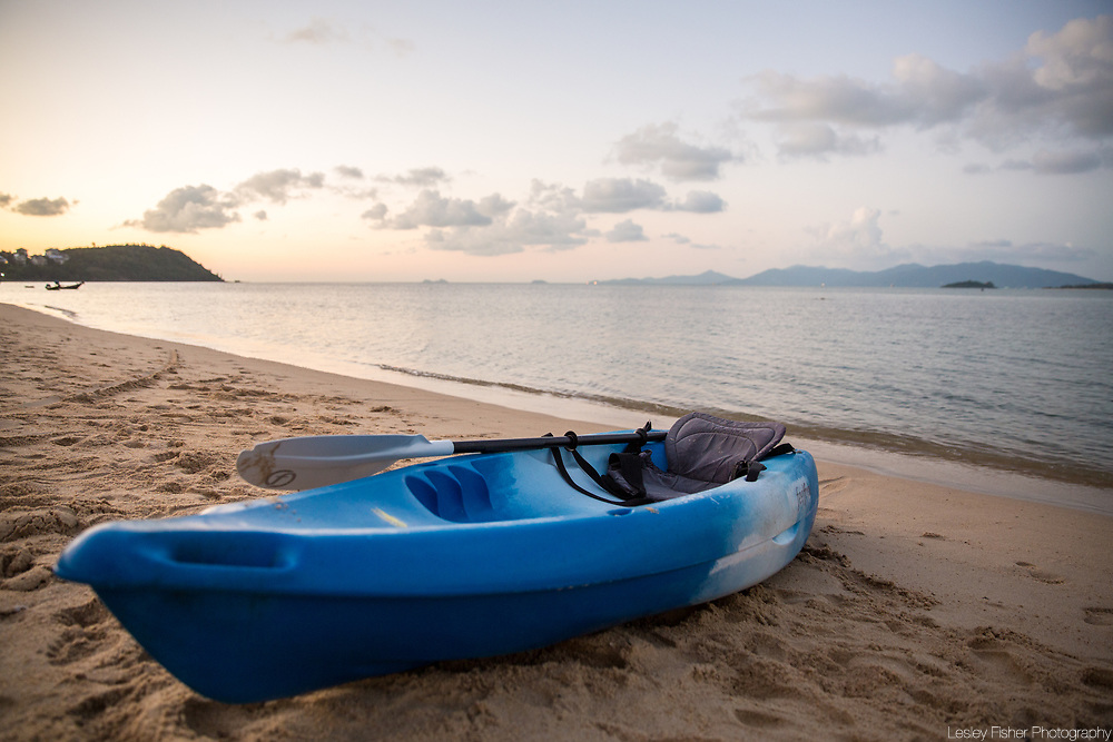 Kayaks at Chi, a luxury beach club located on the beach in Ban Rak, Koh Samui, Thailand