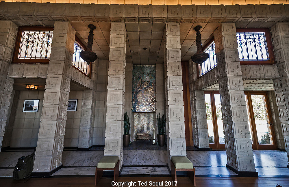 The Ennis House designed by Frank Lloyd Wright.<br /> Living room north wall.