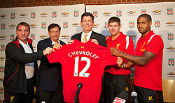BOSTON, MA - Tuesday, July 24, 2012: Liverpool's captain Steven Gerrard, co-owner and NESV Chairman Tom Werner, Chris Perry (Chavrolet Marketing Vice President), captain Steven Gerrard and Glen Johnson during a press conference at Fenway Park, home of the Boston Red Sox, to announce a four-year sponsorship deal with car marker Chevrolet, ahead of their second preseason match of the North American tour, against AS Roma. (Pic by David Rawcliffe/Propaganda)