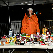 Nadeen Haidar gives advice can you eat like a young person? £10 food budgeting challenge at Sleep Out fundraiser to help homeless young people at Greenwich Peninsula Quay on 15 November 2018, London, UK.