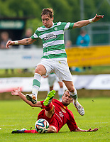11/07/14 PRE-SEASON FRIENDLY<br /> DUKLA PRAGUE v CELTIC<br /> STEYR - AUSTRIA<br /> Stefan Johanssen (top) loses the ball to Prague's Marek Hlinka