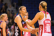 Anna Thompson of the Tactix shakes Renae Hallinan of the Thunderbirds hand following the ANZ Championship Netball game between the Mainland Tactix v Adelaide Thunderbirds at Horncastle Arena in Christchurch. 20th April 2015 Photo: Joseph Johnson/www.photosport.co.nz
