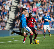 9th September 2017, Ibrox Park, Glasgow, Scotland; Scottish Premier League football, Rangers versus Dundee; Rangers' Lee Wallace and Dundee's Roarie Deacon