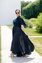 Street style, Chriselle Lim arriving at Dior Fall-Winter 2018-2019 Haute Couture show held at Musee Rodin, in Paris, France, on July 2nd, 2018. Photo by Marie-Paola Bertrand-Hillion/ABACAPRESS.COM