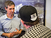 20 MAY 2019 - DAVENPORT, IOWA: BETO O'ROURKE, (left) a Texas Democrat, talks to individual voters after a town hall style campaign appearance in Davenport. About 200 people came to the event in the River Music Experience, a downtown venue. O'Rourke, running to be the 2020 Democratic nominee for the US Presidency, has made climate change a central part of his campaign. He held a town hall in Davenport Monday. Iowa traditionally hosts the the first election event of the presidential election cycle. The Iowa Caucuses will be on Feb. 3, 2020.                     PHOTO BY JACK KURTZ