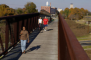 American Tobacco Trail, a rail-trail in Durham, NC. This portion of the trail is near downtown Durham