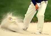 Danny Lee hits out of the 17th bunker during the second round of the RBC Heritage golf tournament in Hilton Head Island, S.C., Friday, April 18, 2014. (AP Photo/Stephen B. Morton)