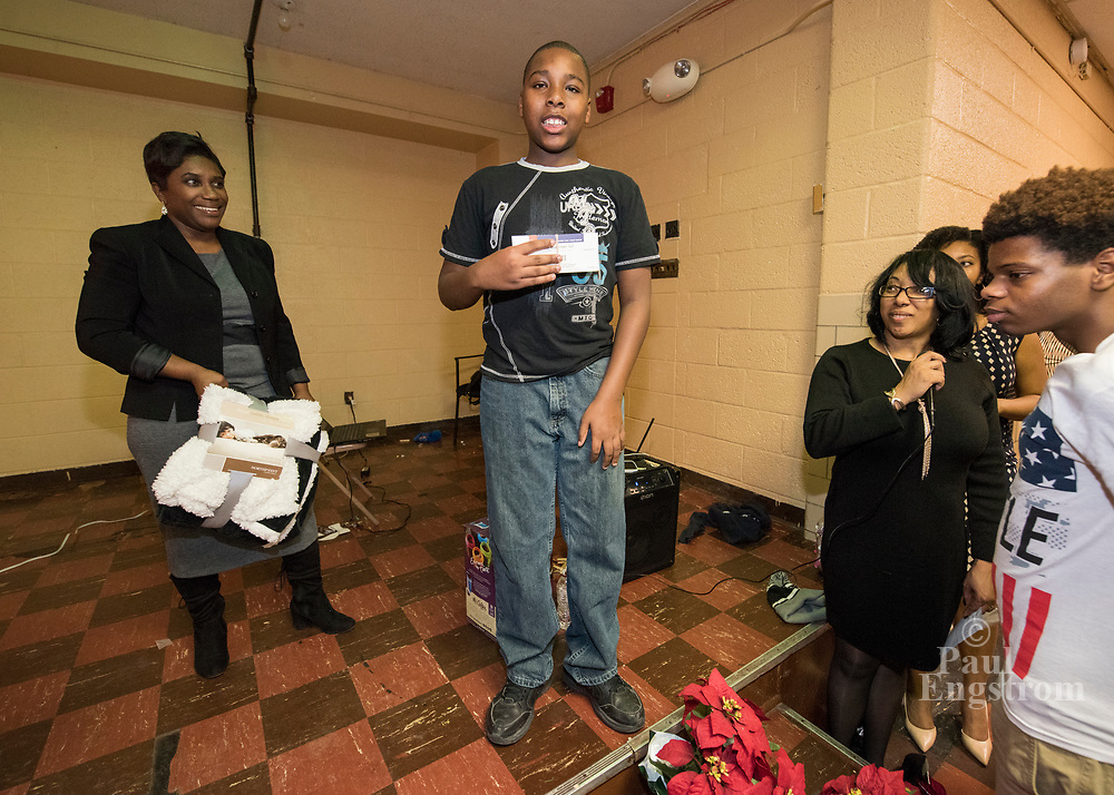 Youth program Developing KIDS holds annual Holiday Party at Don Bosco Hall in the Cody Rouge neighborhood, Detroit.
