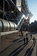 France. Paris. 4th district. Piazza Beaubourg museum main square. outside stairs of Beaubourg
