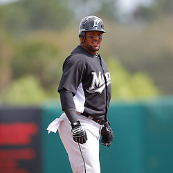 March 3, 2011; Kissimmee, FL, USA; Florida Marlins third baseman Emilio Bonifacio (1) stands after hitting a first inning double during a spring training exhibition game against the Houston Astros at Osceola County Stadium.  Mandatory Credit: Derick E. Hingle