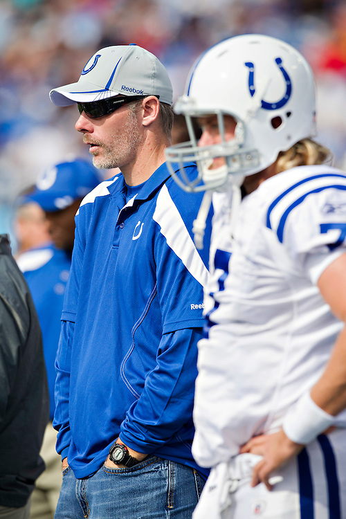 NASHVILLE, TN - OCTOBER 30:   Quarterbacks Curtis Painter #7 and Kerry Collins #5 of the Indianapolis Colts on the sidelines during a game against the Tennessee Titans at the LP Field on October 30, 2011 in Nashville, Tennessee.  The Titans defeated the Colts 27 to 10.  (Photo by Wesley Hitt/Getty Images) *** Local Caption *** Kerry Collins; Curtis Painter