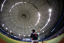 August 29, 2017 - St. Petersburg, Florida, U.S. - WILL VRAGOVIC   |   Times.Houston Astros center fielder George Springer (4) on deck in the fourth inning during the game between the Texas Rangers and the Houston Astros at Tropicana Field in St. Petersburg, Fla. on Tuesday, Aug. 29, 2017. (Credit Image: © Will Vragovic/Tampa Bay Times via ZUMA Wire)
