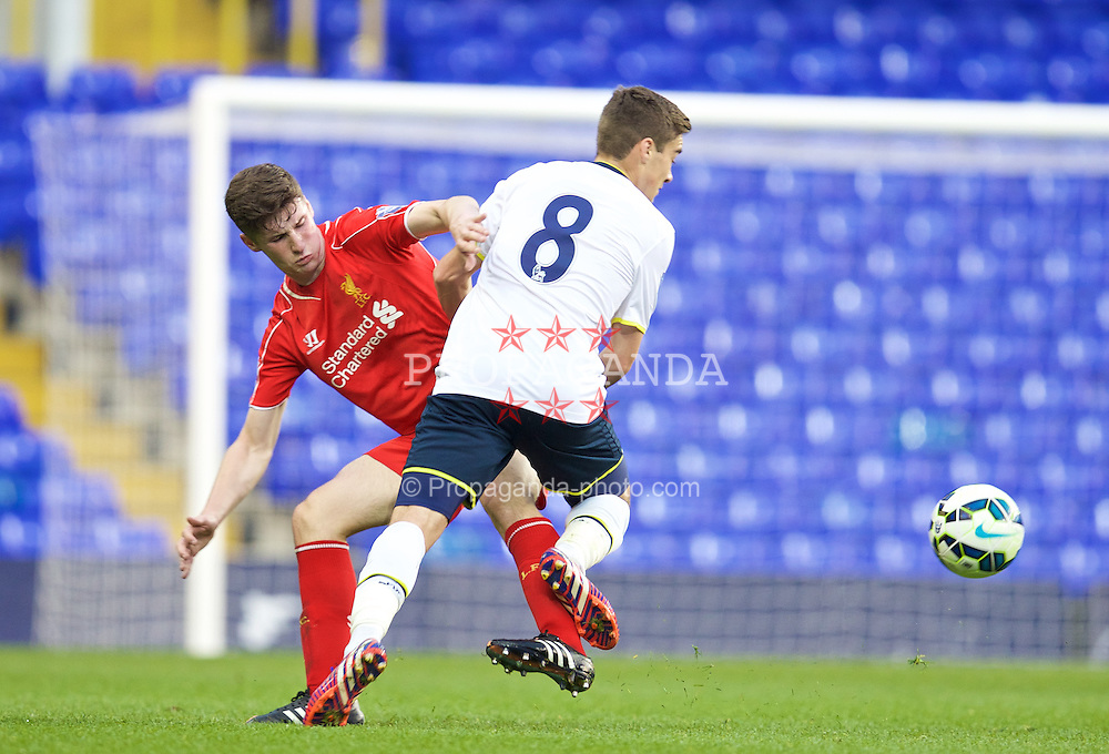 LONDON, ENGLAND - Friday, April 17, 2015: Liverpool's Corey Whelan in action against Tottenham Hotspur during the Under 21 FA Premier League match at White Hart Lane. (Pic by David Rawcliffe/Propaganda)