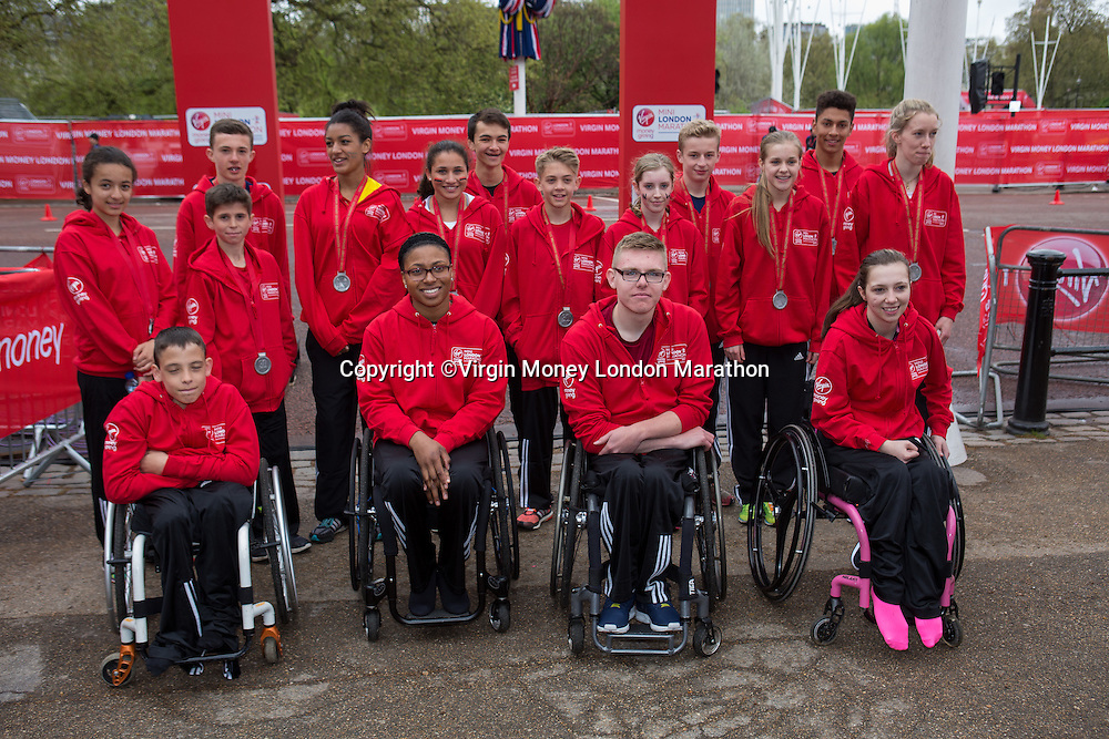 Group shot of all of the winners of the various categories of the Virgin Giving Mini London Marathon 2015, Sunday 26th April 2015.<br /> <br /> Neil Turner for Virgin Money London Marathon<br /> <br /> For more information please contact Penny Dain at pennyd@london-marathon.co.uk