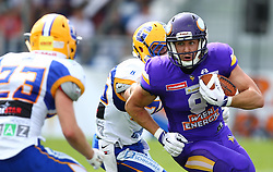 19.06.2016, FAC Stadion, Wien, AUT, AFL, AFC Vienna Vikings vs Projekt Spielberg Graz Giants, im Bild Thomas Winter (Projekt Spielberg Graz Giants, DB, #23), ONeil Blake (Projekt Spielberg Graz Giants, DB, #26) und Stefan Postel (Vienna Vikings) // during the AFL game between AFC Vienna Vikings vs Projekt Spielberg Graz Giants at the FAC Stadion, Vienna, Austria on 2016/06/19. EXPA Pictures © 2016, PhotoCredit: EXPA/ Thomas Haumer