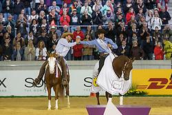 Masi De Vargas Giovanni, (ITA), Dance Little Spook, Ludwig Grischa, (GER), Shine My Gun<br /> Reining individual<br /> European Championships - Aachen 2015<br /> © Hippo Foto - Dirk Caremans<br /> 16/08/15