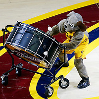 10 June 2016: Cavaliers mascot Moondog  performs during the Golden State Warriors 108-97 victory over the Cleveland Cavaliers, during Game Four of the 2016 NBA Finals at the Quicken Loans Arena, Cleveland, Ohio, USA.