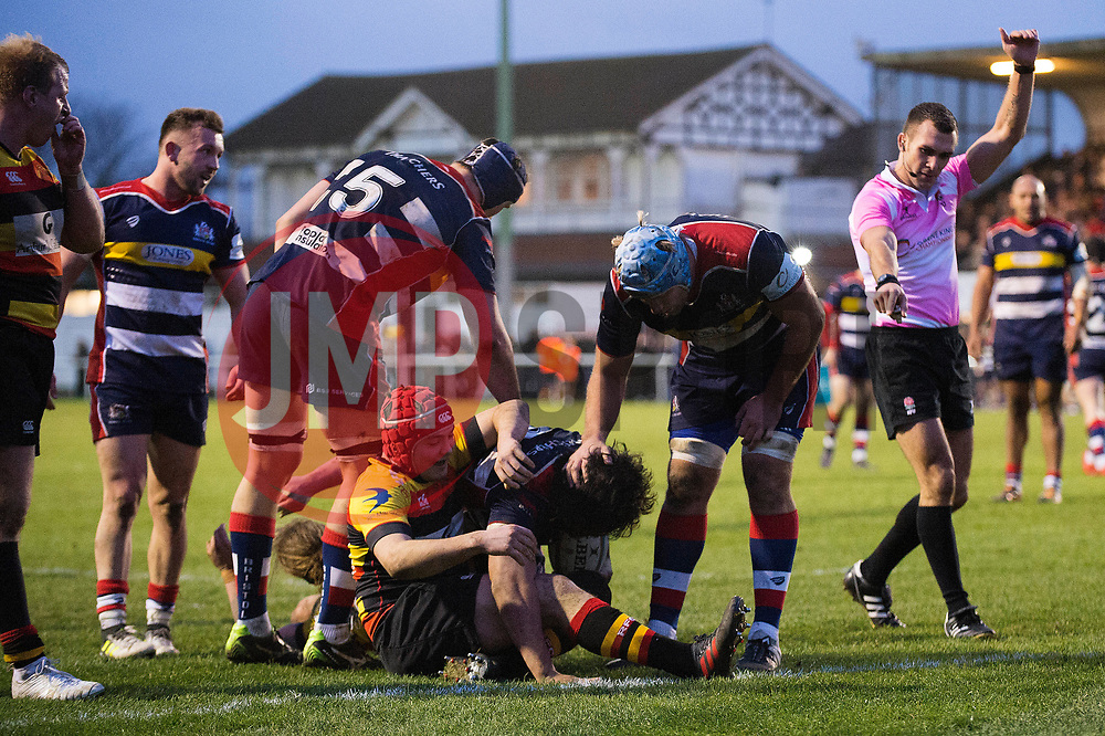 Steven Luatua of Bristol Rugby celebrates scoring a try with team mates - Mandatory by-line: Dougie Allward/JMP - 30/12/2017 - RUGBY - The Athletic Ground - Richmond, England - Richmond v Bristol Rugby - Greene King IPA Championship