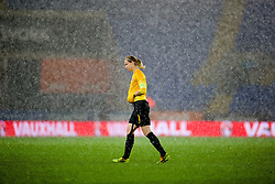 CARDIFF, WALES - Tuesday, August 21, 2014: England's goalkeeper Karen Bardsley in the rain during the FIFA Women's World Cup Canada 2015 Qualifying Group 6 match against Wales at the Cardiff City Stadium. (Pic by David Rawcliffe/Propaganda)