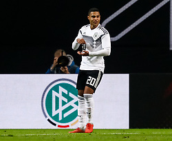 November 15, 2018 - Leipzig, Germany - Serge Gnabry of Germany celebrates his goal during the international friendly match between Germany and Russia on November 15, 2018 at Red Bull Arena in Leipzig, Germany. (Credit Image: © Mike Kireev/NurPhoto via ZUMA Press)
