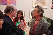 SALMAN RUSHDIE; ANN REES-MYERS; JOHN HURT, Royal Academy of Arts Summer Exhibition Preview Party 2011. Royal Academy. Piccadilly. London. 2 June <br /> <br />  , -DO NOT ARCHIVE-© Copyright Photograph by Dafydd Jones. 248 Clapham Rd. London SW9 0PZ. Tel 0207 820 0771. www.dafjones.com.