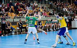 Novak Boskovic of Koper during handball match between RK Cimos Koper and Frisch Auf Goeppingen (GER) in 3rd Round of EHF Cup 2012/2013, on February 23, 2013 in Arena Bonifika, Koper, Slovenia. Goeppingen defeated Cimos Koper 39-36. (Photo By Vid Ponikvar / Sportida)