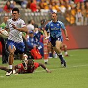 Joe Perez scores Manu Samoa's second first half try in Samoa's 26-7 trouncing of Kenya at Canada Sevens, Day 2, BC Place, Vancouver, Canada.  Photo by Barry Markowitz, 3/12/17
