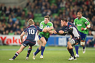 Colin Slade (Highlanders) in action during the Round 17 match of the 2013 Super Rugby Championship between RaboDirect Rebels vs Highlanders at AAMI Park, Melbourne, Victoria, Australia. 12/07/0213. Photo By Lucas Wroe