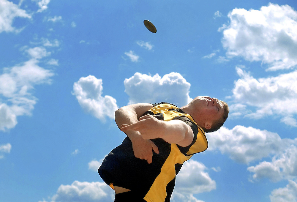 John Brinley of East Hartford, winner of the boys discus, competes in the Journal Inquirer Track Meet.