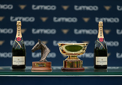 general view of the trophy and champagne for the Timico Mixed Open Gold Cup Final Hunters' Chase during the Hunter Chase Evening at Cheltenham Racecourse