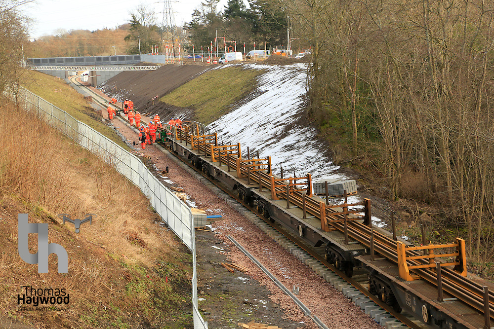 With about 1km to go to Tweedbank, the tracklaying train makes its slow progress towards the terminus on 4th Feb 2015