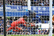 Wolverhampton Wanderers goalkeeper  Rui Patricio (11) saves from Everton forward Moise Kean (27) at close range during the Premier League match between Everton and Wolverhampton Wanderers at Goodison Park, Liverpool, England on 1 September 2019.