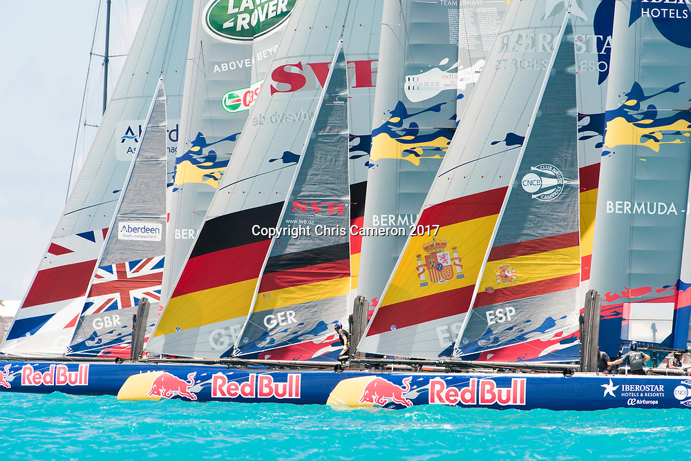 The Great Sound, Bermuda, 20th June 2017, Red Bull Youth America's Cup Finals. Race two, Land Rover BAR Academy,  Next Generation - Team Germany and Spanish Impulse by Iberostar Team.