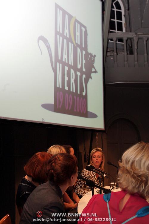 NLD/Amsterdam/20080919 - Nacht van de Nerts 2008, Cindy Pielstroom, Claudia Linssen, Marijke Helwegen, Hilma Mulder, Lisette Kreischer en Roos Rutjes debat